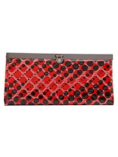Red, Black Leatherette Wallet - By