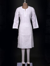 White Cotton Chikankari Kurta - Ada