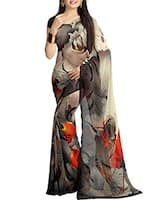 grey georgette printed saree -  online shopping for Sarees