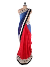 Chic Cornflower Blue And Red Georgette Saree - Kashish Lifestyle