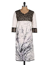 Black & White Tree Printed Cotton Kurta - CRAZORA
