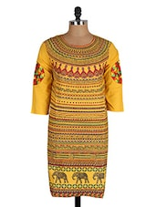 Yellow Quarter Sleeves Cotton Kurta - CRAZORA