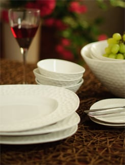 21 Piece Dimpled Ceramic Dinner Set - FOYER