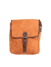 Brown Suede Leather Sling Bag - Kurio Kottage By Kurtawala