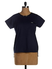 Navy Blue Asymmetric Cotton Knit Short Sleeves Dress - Miss Chase