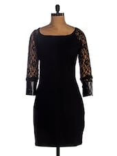 Black Lace Full Sleeves Bodycon Dress - Miss Chase