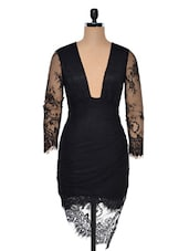 Black Lace Net Evening Dress - Ruby