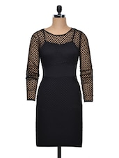 Black Polyester Dress With Net Overlay - Ruby