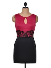 Red And Black Dress With Lace Overlay - Ruby