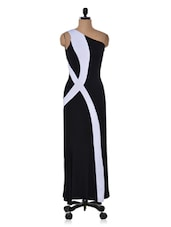 Fluid Monochrome Floor-length Dress - Ruby