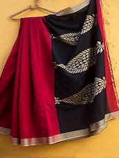 Red Cotton Silk Saree - Cotton Koleksi