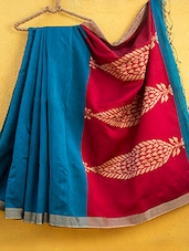 Sea Green Cotton Silk Saree - Cotton Koleksi