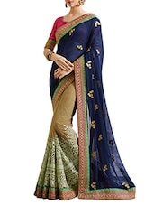 Navy Blue & Beige Georgette Half And  Saree - By