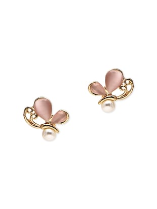Gold Plated Butterfly Shaped Stud Earring.