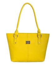 Yellow Leatherette Regular Handbag - By