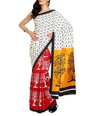 Multicolored Art Silk Printed Saree With Blouse - By