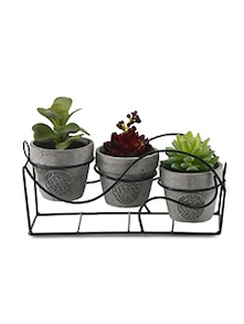 Set of 3 Artificial Decorative Plant with Single Stand & Ceramic Pots