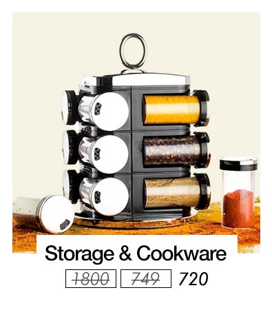 Cookware storage · wall clock