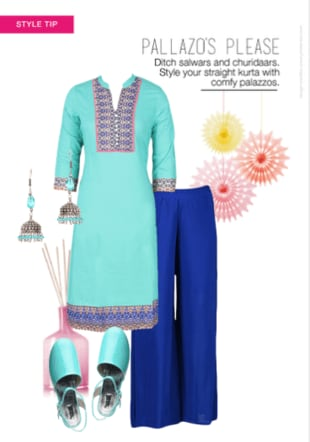 Palazzos Please Green Kurtas, Bead Blue Earrings with Green Sandals Combo