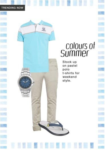 e4f8cad492fee This light blue polo shirt with a cool white design on the chest looks  absolutely apt for the summer. Team it up with off white denims or off white  cotton ...