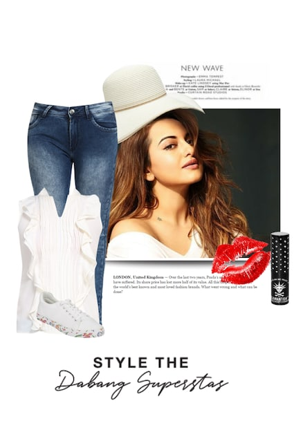 White Sneakers,  Tops with Blue Jeans. Online shopping look by praveena ayyappan