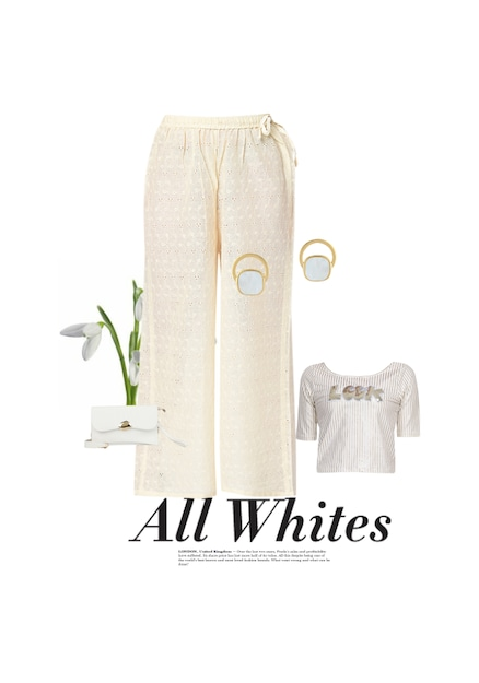 White Earrings,  Clutches,  Tops with  Palazzos. Online shopping look by k keerthi