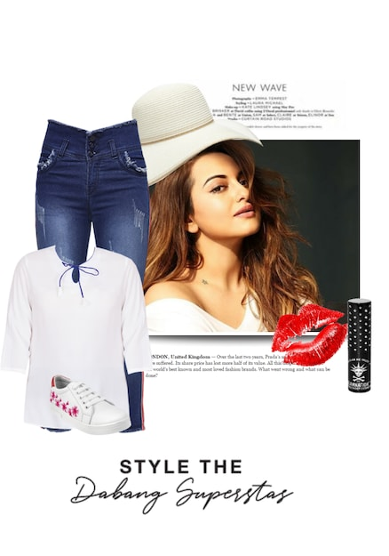 White Sneakers,  Tops with Blue Jeans. Online shopping look by { S.S F@shiøn & Stylë 👗Hüb } 💃😘
