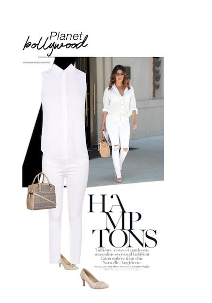 Brown Handbags, Beige Pumps, White Jeans, Pumps with Shirts. Online shopping look by Manogna chebolu