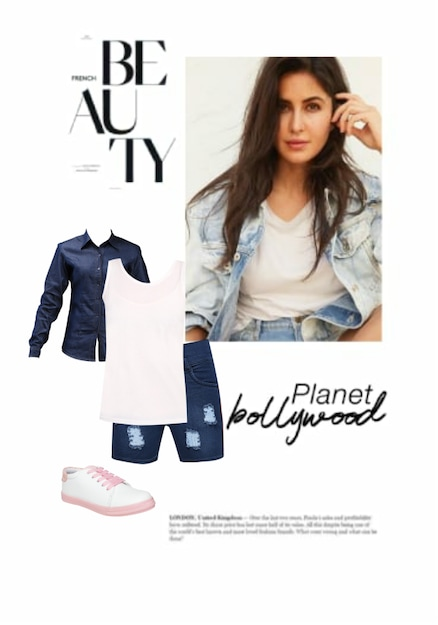 White Sneakers, Tees, Blue Shirts with Shorts. Online shopping look by Nasreen Khan