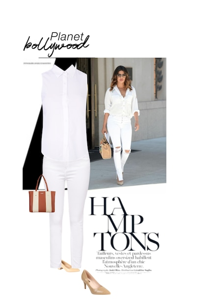 Brown Handbags, Beige Pumps, White Jeans, Pumps with Shirts. Online shopping look by Anu Thangavel👑🎓👗👖👕👒🐶😌😊