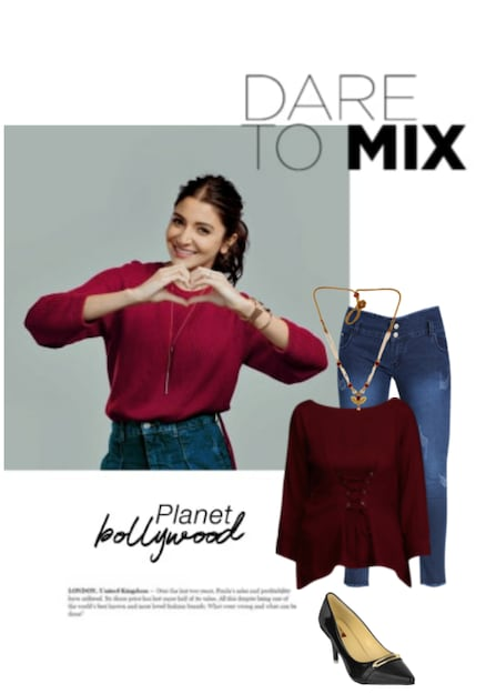 Black Pumps, Gold Necklaces, Red Tops with Blue Jeans. Online shopping look by adiparashakti108 chanda