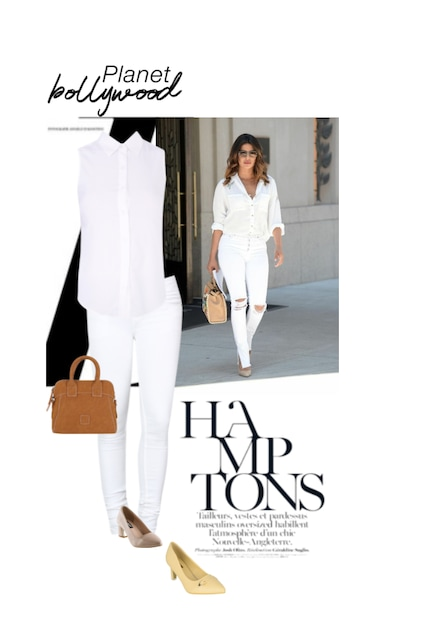 Brown Handbags, White Shirts, Beige Pumps, Jeans with Pumps. Online shopping look by K.B :) Stylist on limeroad Stylist on limeroad