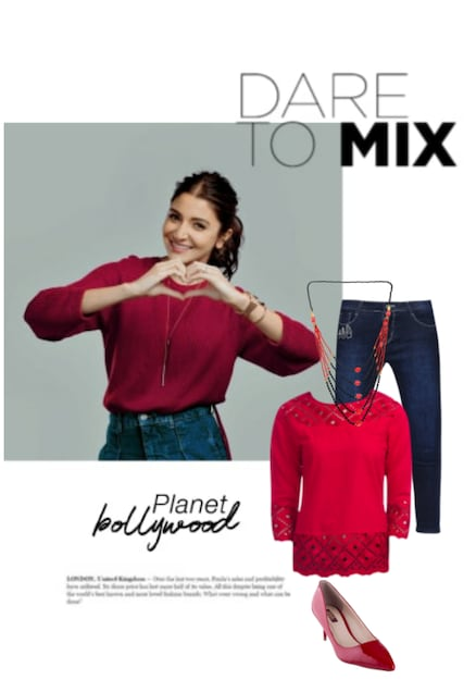 Red Pumps, Multi Necklaces,  Tops with Blue Jeans. Online shopping look by jyothi reddy
