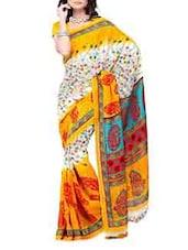 Color Block Printed Georgette Saree - Ambaji
