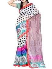 Color Block Printed Net Saree - Ambaji