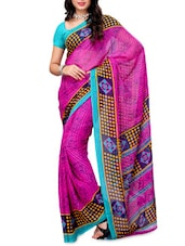 Polka Dot Printed Georgette Saree - Ambaji