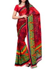 Printed Color Block Georgette Saree - Ambaji