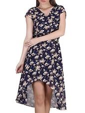 Floral Print V-Neck Georgette Dress - SIERRA