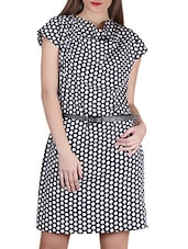 Polka Dots Print Cowl Neck Crepe Dress - SIERRA