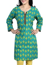 Green- Yellow Colored Printed Cotton Kurta - By