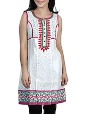 White- Pink Colored Printed Embroidered Cotton Kurti With Pin Tucks - By