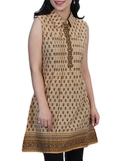 Beige- Brown Colored Printed Cotton Kurti With Pin Tucks - By