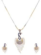 American Diamond Peacock Pendant Set - Crunchy Fashion