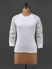 Polka Dot Sleeved White Polyester T-shirt - Texco