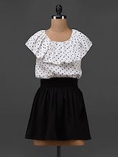 Black And White Polka Dot Poly-Crepe Dress - Texco