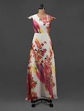 Floral Printed White Georgette Maxi Dress - Texco