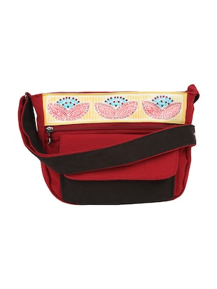 Red,Black,Multi-colored Canvas Sling Bag
