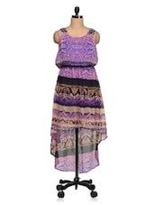 Multicolor Printed Georgette Asymmetric Dress - Queens