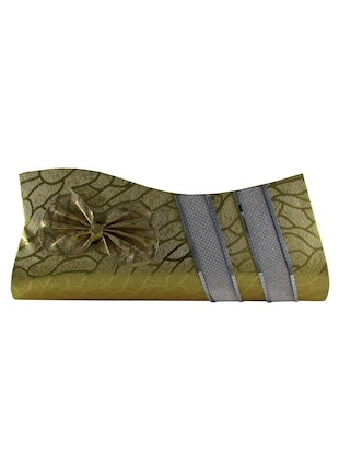 golden leatherette clutch