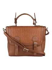 Tan Top Handle Imported Faux Leather Sling Bag - BEAU DESIGN
